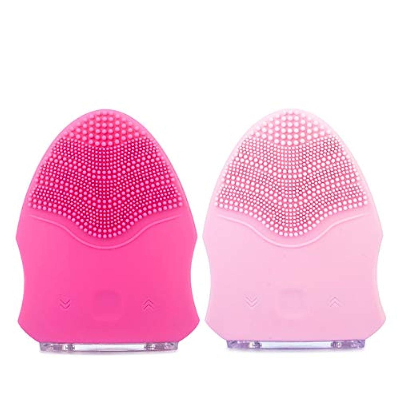 エレクトロニック気を散らす前件ZXF 防水シリコーン洗顔器毛穴掃除美容器用充電器ピンク赤セクション 滑らかである (色 : Red)