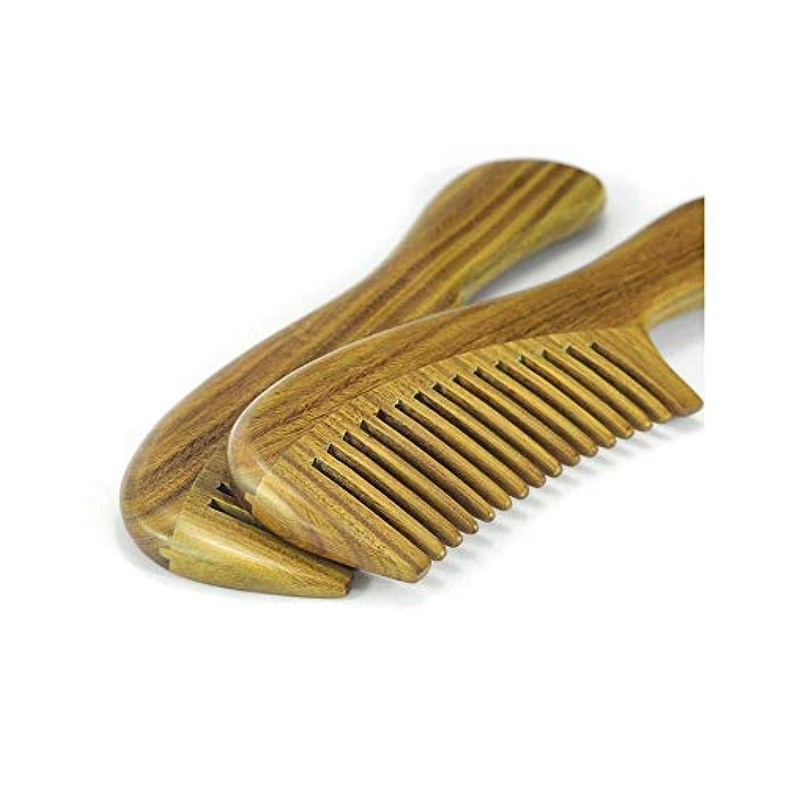 カリキュラムドループ模索Fashianナチュラルグリーンサンダルウッド木製のもつれ解除はありません静的ヘアコーム(標準歯形、20センチメートル) ヘアケア