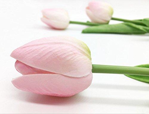 KCOOL 造花 花束 チューリップ フラワー 本物そっくり 三つ色あり 10本セット (ピンク)