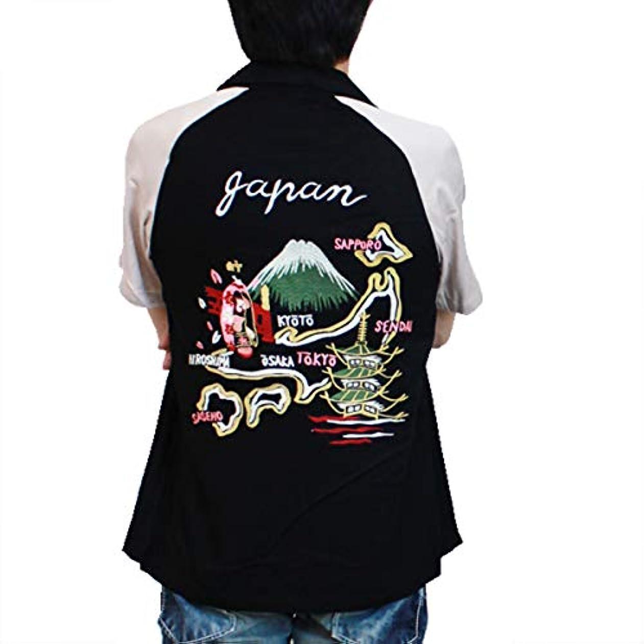 贈り物全体に故意に(ヒューストン)HOUSTON SOUVENIR EMBROIDERY S/S SHIRTS / スーベニア刺繍半袖シャツ 40315 M BLACK(ブラック)
