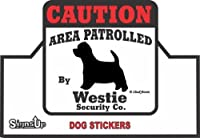 【CAUTION】 Westie Security Co. ステッカー:ウェスティー 耐水性 シール Made in U.S.A [並行輸入品]
