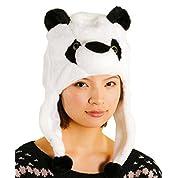 スポッとかぶれる あったか もこもこ 動物 帽子 かぶりもの(パンダ) a411f