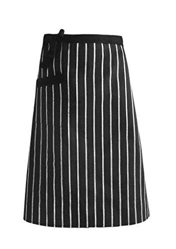 作業 エプロン カフェエプロン 腰下タイプ 綿素材 ストライプ柄 前結び ポケット付き サロン 飲食店 レストラン 業務用 店員 ウェイター メンズ レディース ブラック