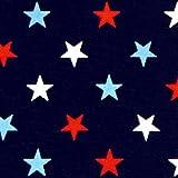 星柄 (紺地) 布・生地 (50cmから注文可) (価格は10cmの価格)