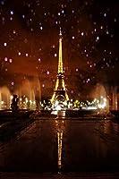 5x 7ftビニールパリエッフェル塔夜写真Studioバックドロップ背景