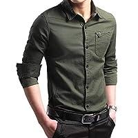 CHZGXRBシャツ春ボタン100%cootnミリタリーシャツ男性長袖カジュアルシャツ戦術的ビジネスシャツアジアxxlグリーン