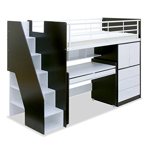 階段付き ロフト システムベッド massa2(マッサ2) 大容量収納 (ナチュラル/ホワイト)