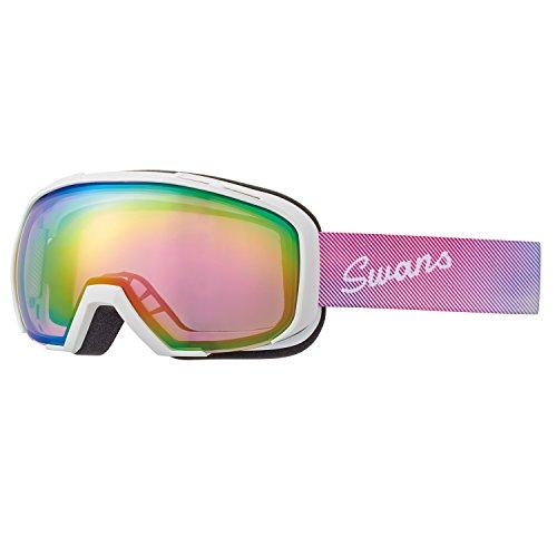 SWANS(スワンズ) スキー スノーボード ゴーグル プレミアムアンチフォグ搭載 ミラーレンズ 080-MDH-S-PAF W ホワイト/ピンクミラー×ブライトピンクレンズ