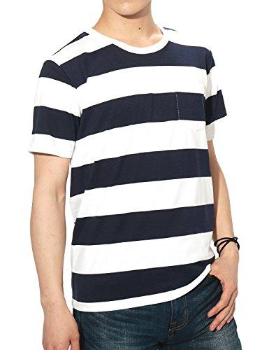 (リピード) REPIDO Tシャツ ボーダー 半袖 クルーネック メンズ ボーダーTシャツ ホワイト×ネイビー(C) Lサイズ