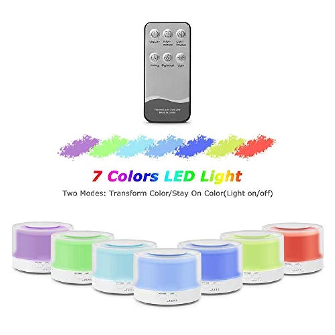 ラウズ表現オーブン加湿器 アロマディフューザー 卓上加湿器 アロマ 700ml 7色LEDライト変換 間接照明 空焚き防止 お部屋/オフィス/温泉など適用 誕生日プレゼント