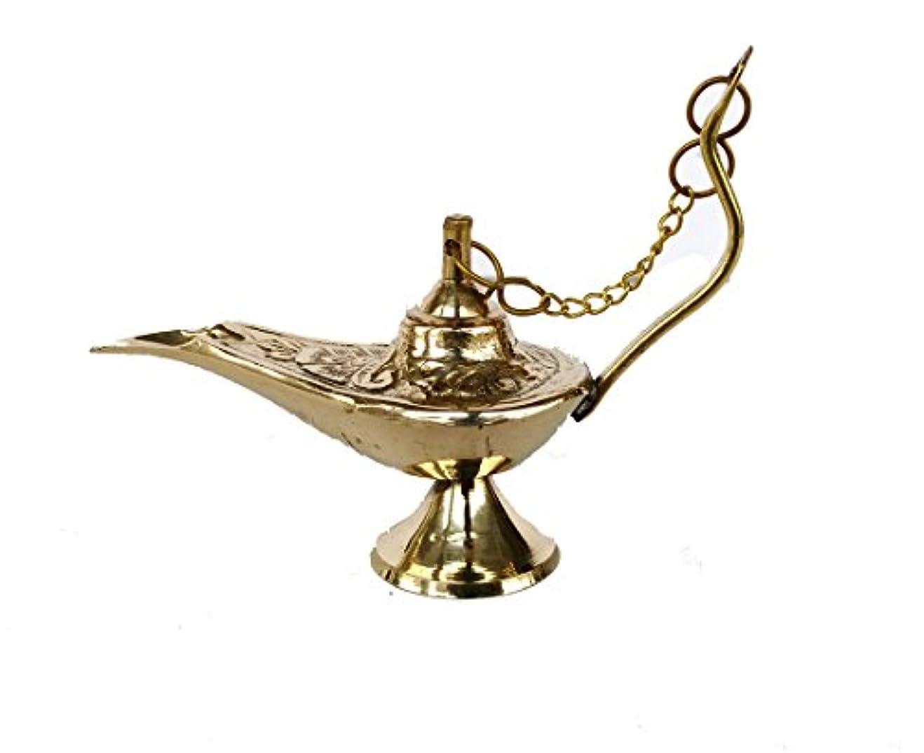 裁量面倒気候Rastogi Handicrafts真鍮Aladdin Genie Lamps Incense Burners Big and Smallサイズゴールデンカラーランプ 4 x 3 inch zfzfs