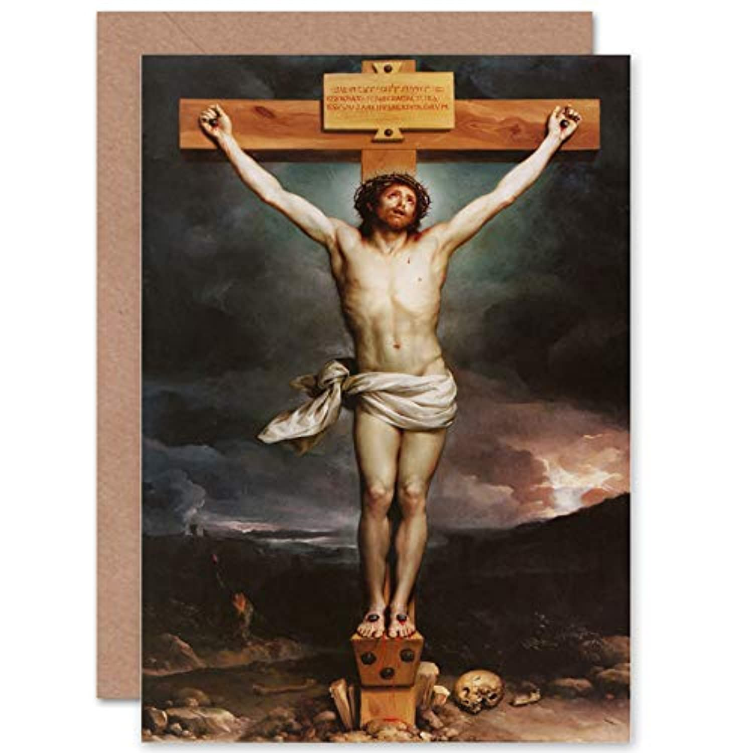 CARD GREETING GIFT PAINTING ALLEGORY BIBLICAL MENGS CHRIST ON THE CROSS 贈り物ペイントアレゴリーキリストクロス