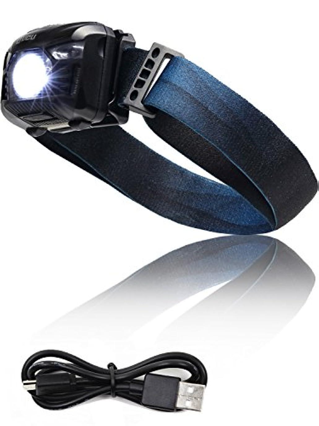 日曜日不機嫌協力的LICLI ヘッドライト 充電式 防水 LED センサー 機能 登山 釣り ランニング ヘッドランプ 明るさ100ルーメン 「 角度調整可 軽量 コンパクト 日本語説明書付き 」「 5つの点灯モード 赤色 ライト ストロボ 」 2色