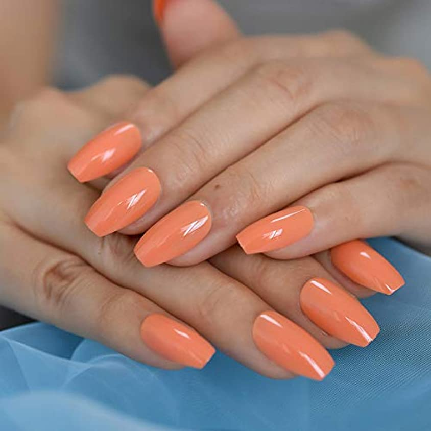 災難飛躍自分自身XUTXZKA 薄オレンジ色の偽の爪光沢のあるソリッドカラーフルカバーネイルのヒント仮押しネイルステッカー24