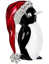 Echana Christmas クリスマス ペンギン ブローチ ピンズ ピン ラインストーン キラキラ ジャケット コート カバン 帽子