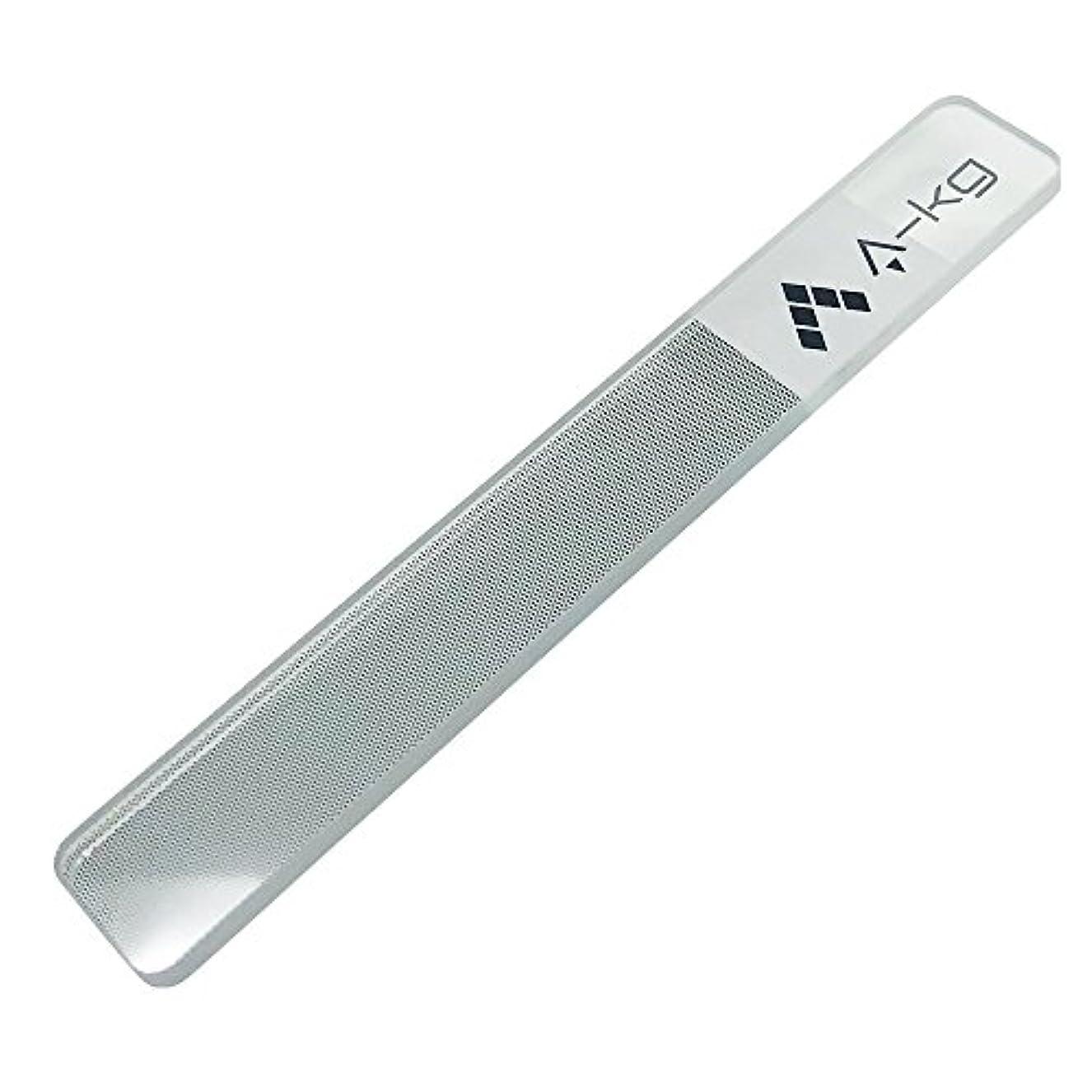 近似柔らかい無意識A-KG ネイル ラスター ガラス 爪磨き 爪仕上げ 爪やすり ツヤ出し ガラス製 (白抜きLOGO)