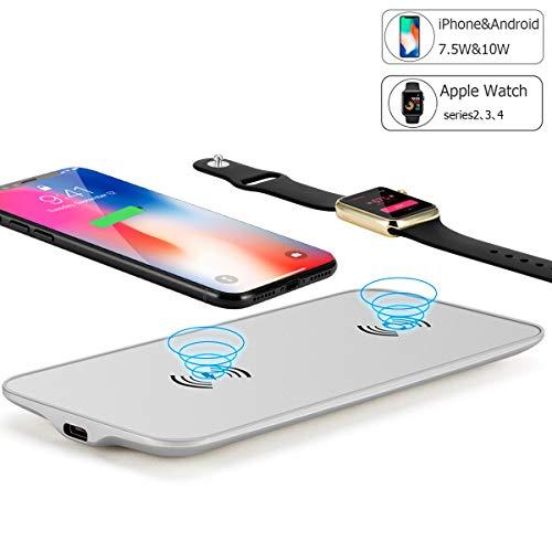 Proyae iPhone/Watch同時充電器 Qi急速ワイヤレス充電 アルミ製 シルバー