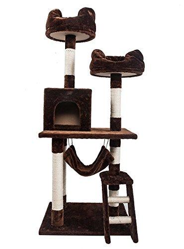 (OSJ)キャットタワー 猫タワー スタンダード式 ハンモック&爪とぎ&ベッド&ネズミ付き (ブラウン)