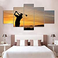 Hdプリント5ピースモルディブボールスティック壁にリビングルームホームデコレーションスポーツモジュラー額縁キャンバス絵画