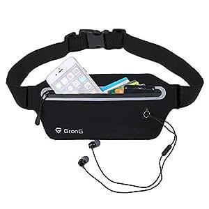 GronG(グロング) ランニングポーチ ランニングバッグ ウエストポーチ ウエストバッグ レディース メンズ ランニング 防水 スマホ 反射材使用