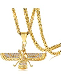 Towlimss 18K Gold Plated Jewelry Stainless Steel Crystal Necklace Farvahar Symbol Tag Pendant Necklace