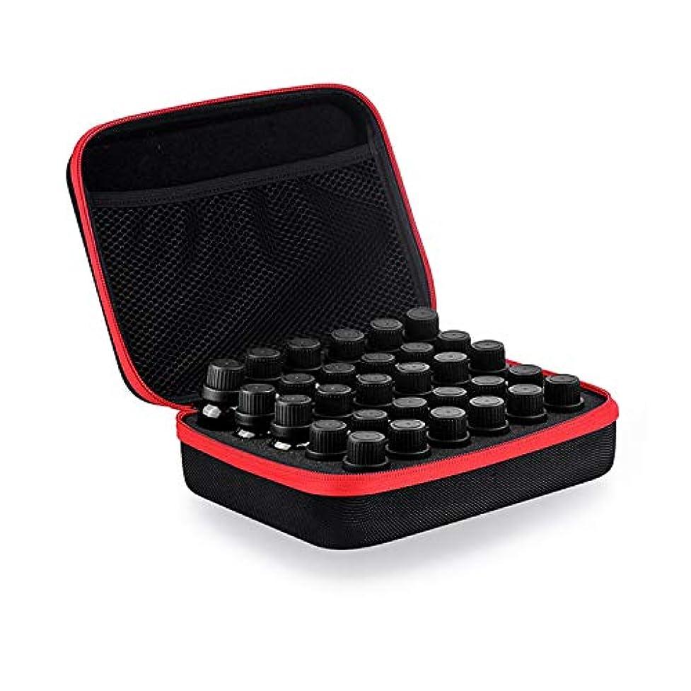 逃げるしたがって鋸歯状Coteco 精油 ケース 化粧品袋30スロットボトルエッセンシャルオイルケース用保護5/10/15ミリリットルローラーエッセンシャルオイルバッグ 旅行 キャリング 収納オーガナイザー (赤)