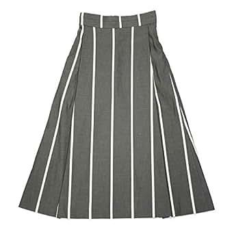 [Borelio【ボレリオ】]ストライプスカート ZOE 002 コットン ブラック ホワイト(32)