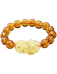 I-MART Feng Shui Pi Xiu/Pi Yao Citrine Crystal Bracelet, Attract Wealth and Good Luck Yellow