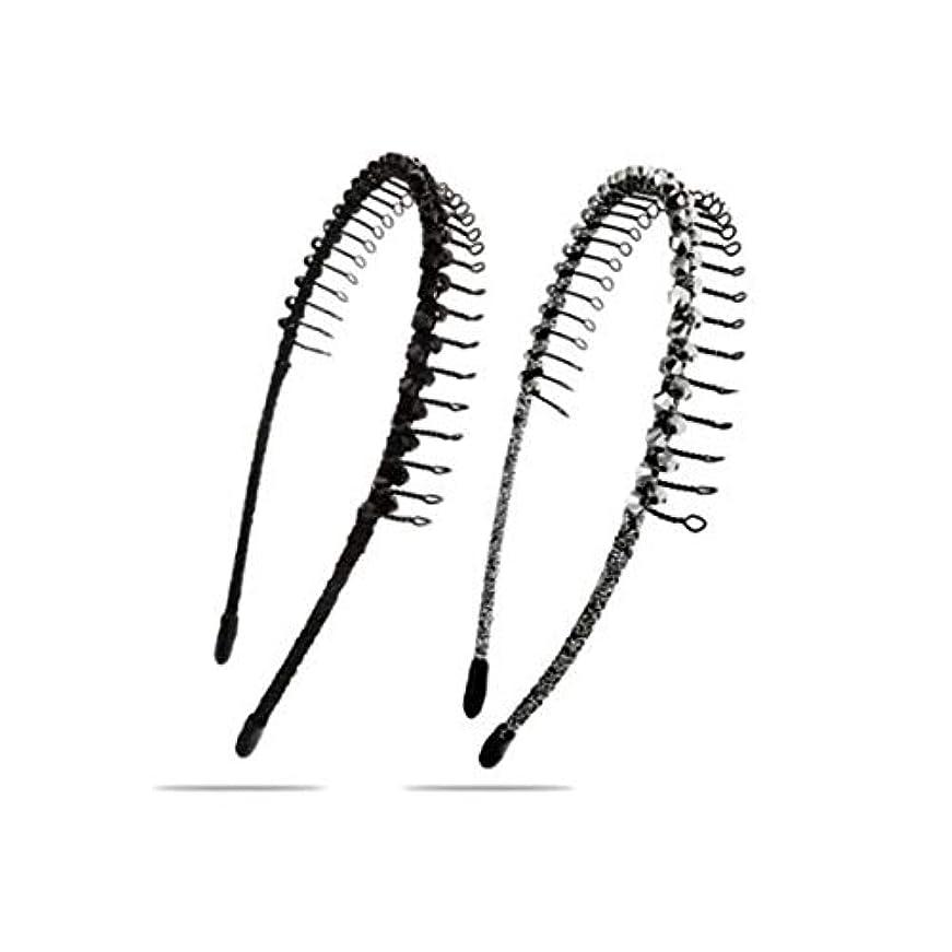ピカリング削るゴールヘアクリップ、ヘアピン、ヘアグリップ、ヘアグリップ、ファッション歯付きヘアバンドヘッドバンド2ピースセットヘッドバンドヘアアクセサリースリップヘアピン大人シンプル帽子クリップカラーミキシング (Color : Gray)