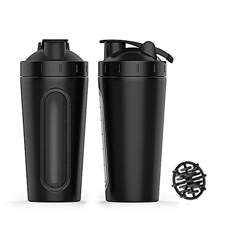 幻影セラフ酸化物ステンレススチール スポーツウォーターボトル プロテインミルクセーキーシェーカーカップ 可視ウィンドウ ブラック