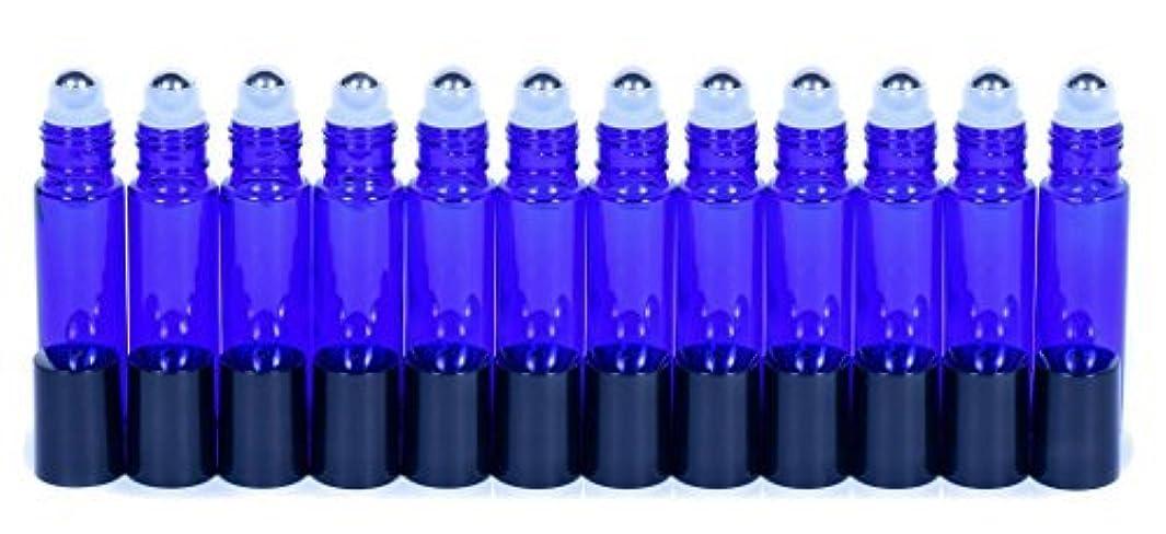 確保する昨日ボクシングCobalt Blue Glass Roller Bottles W/Stainless Steel Balls For Essential Oils (12 Pack, 10ml Size) - Includes 12...