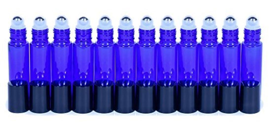 医薬ビリー風Cobalt Blue Glass Roller Bottles W/Stainless Steel Balls For Essential Oils (12 Pack, 10ml Size) - Includes 12...