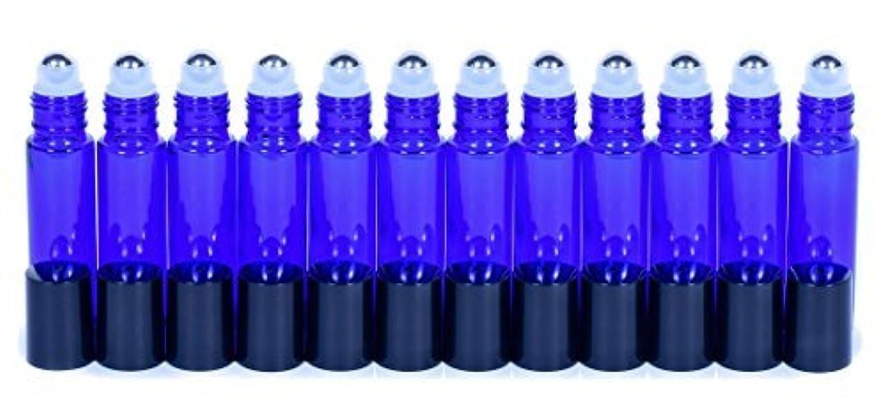 衣服旅テントCobalt Blue Glass Roller Bottles W/Stainless Steel Balls For Essential Oils (12 Pack, 10ml Size) - Includes 12...