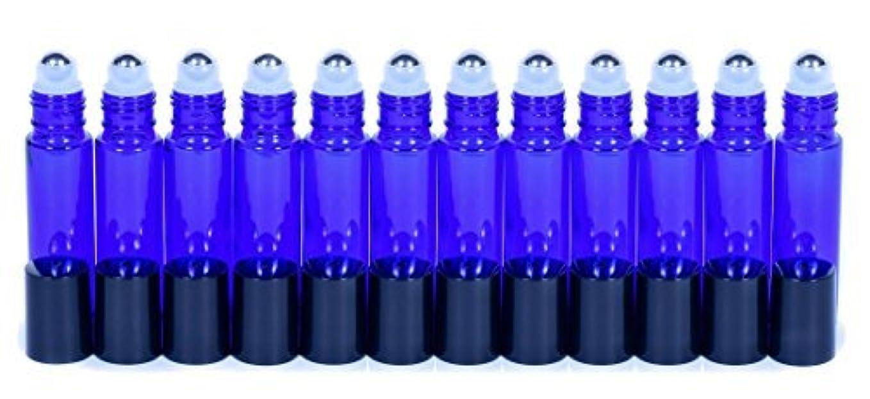 曲げる望ましいスリチンモイCobalt Blue Glass Roller Bottles W/Stainless Steel Balls For Essential Oils (12 Pack, 10ml Size) - Includes 12...