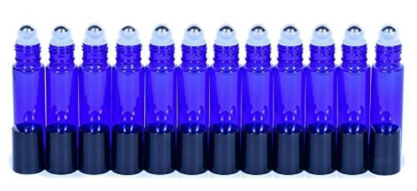 骨折中性フレキシブルCobalt Blue Glass Roller Bottles W/Stainless Steel Balls For Essential Oils (12 Pack, 10ml Size) - Includes 12...