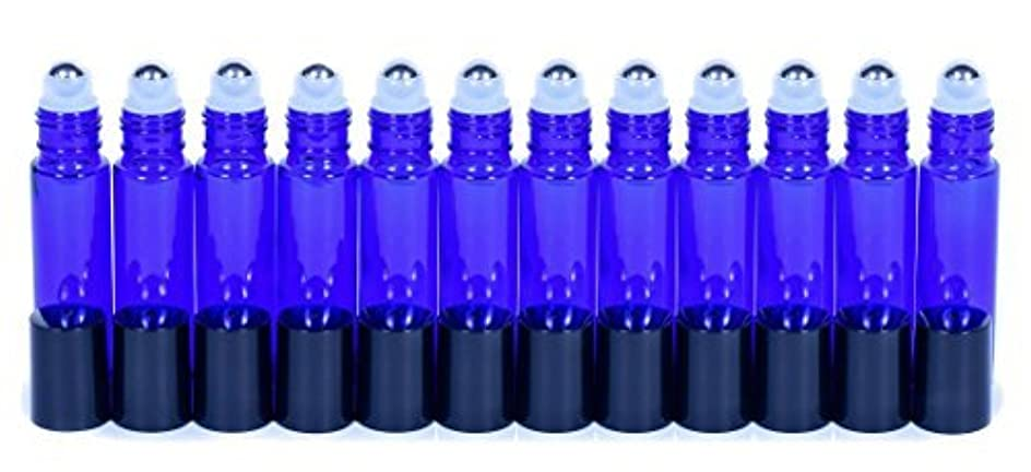 流暢閃光シャンプーCobalt Blue Glass Roller Bottles W/Stainless Steel Balls For Essential Oils (12 Pack, 10ml Size) - Includes 12 Pipettes for Easy Transfer of Essential Oils [並行輸入品]