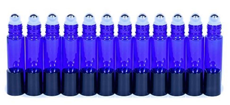 思慮のない接地爬虫類Cobalt Blue Glass Roller Bottles W/Stainless Steel Balls For Essential Oils (12 Pack, 10ml Size) - Includes 12...