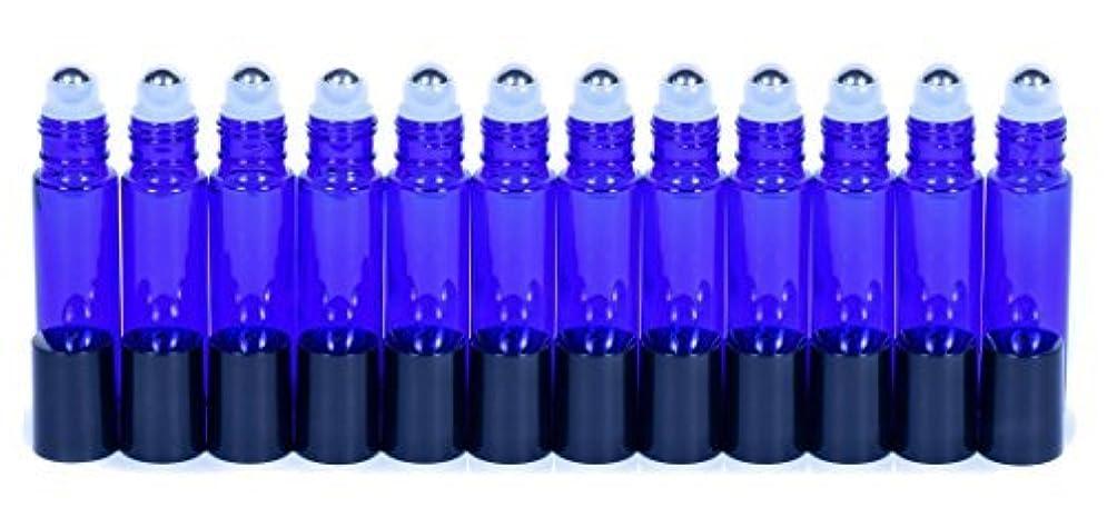 舗装する専門用語木曜日Cobalt Blue Glass Roller Bottles W/Stainless Steel Balls For Essential Oils (12 Pack, 10ml Size) - Includes 12...
