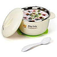 La moriposa Baby Stainless Bowl and Spoon Set Warming Bowl by La moriposa