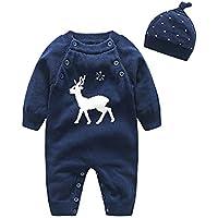 クリスマス衣装 エルフ ベビー(Fairy Baby)トナカイ柄ロンパース ベビー服秋冬 帽子付き 紺色90cm