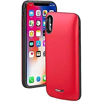 f665e34ac ... iPhoneX XS 10 バッテリー内蔵ケース 4000mAh 大容量 バッテリーケース型 超軽量 薄型 スリム iPhoneX 専用  急速充電用 モバイルバッテリー (レッド)