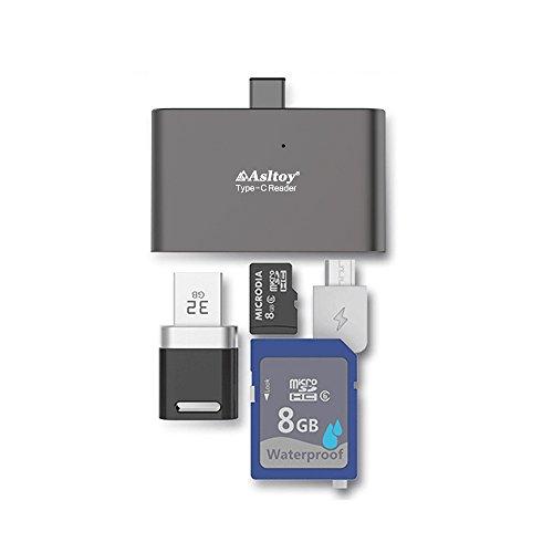 USB C カードリーダー Type C Asltoy 5 in 1 SD カードリーダー TF USB C ハブ USB-A-Micro 多機能 カードリーダー OTG機能 マルチカードリーダー メモリカードリーダ micro sd (グレー B)