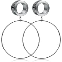 Kangyijia Surgical Steel Ear Tunnels Large Hoop Ear Plugs Expander Dangle Gauges Stretcher Piercing