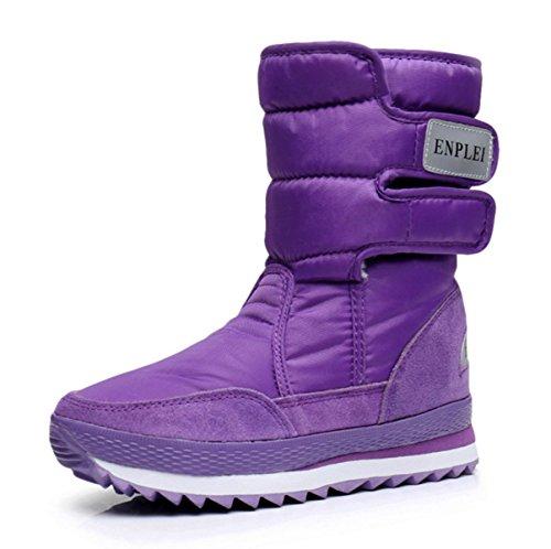 レディース ジュニア 防寒ブーツ スノーブーツ スキーブーツ ロングブーツ 吸湿発熱 耐水圧加工 中綿入り 雪仕様 ブーツ (38, パープル)