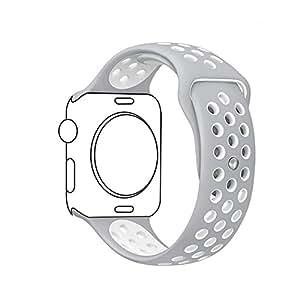METEQI For Apple Watch Band シリカゲルバンド スポーツシリコンストラップリストバンド交換バンド柔らか運動型 M/L Series 3/2/1 (38MM, グレー/白)