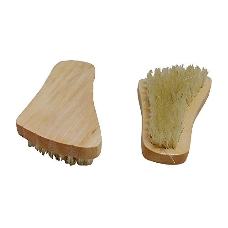 Hrph ネイルブラシ ボディブラシ 木柄 豚毛 足型