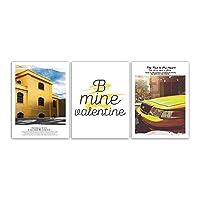 3ピースウォールアート現代プリント黄色建物キャンバスポスター北欧スタイルの写真リビングルームファッション絵画家の装飾60×80センチいいえ額装