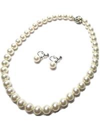真珠ネックレス 最高級ミガキ貝パール 白 大珠10mm 真珠45cm 大粒ネックレス( イヤリングセット)シリコンクッション入