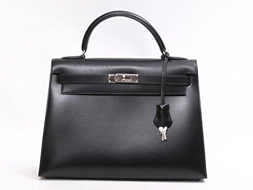 [エルメス] HERMES ケリー32 ハンドバッグ 外縫い ブラック(金具:シルバー) ボックスカーフ [中古]