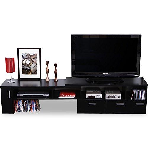 テレビ台 テレビボード 伸縮 角度自由 コーナー ローボード 50インチ対応 木製 109cm~198cm ブラック